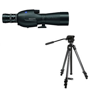 Zeiss Victory FL DiaScope 85T* FL Straight Spotting Scope with Vario 20-75x Eyepiece and Carbon Tripod