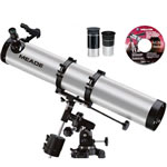Meade 114EQ-ASTR 4.5 inch (114mm) f/8 Reflector Telescope, Rack-&-Pinion Focuser, Equatorial Mount, 2 Eyepieces, Red Dot Viewfinder, & Tripod