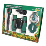 Carson AdventurePak Binocular, Compass, Flashlight, Whistle, Thermometer, Green