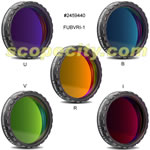 Baader 1.25 inch Set of 5 Photometric UBVI Filters, 4mm Glass Thickness, Optically Polished